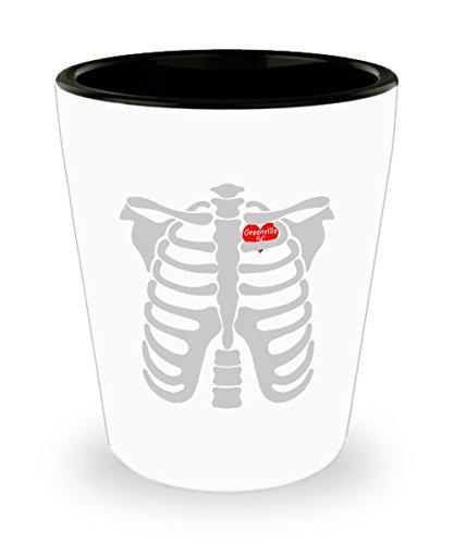 Shot Glass Greenville South Carolina In Heart Skeletons Halloween Gift Glass -