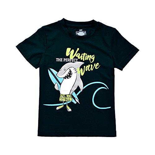 KISBINI Toddlers Boys Happy Waving Shark Short T Shirt Tops Black Tee
