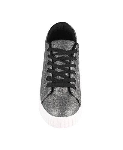 KRISP Damen Flache Sneaker mit Dicker Sohle Schwarz (2229)