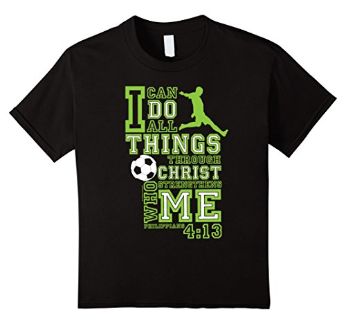 Kids Slingshot -I Can Do All Things Soccer T-Shirt by bCreative 8 Black (Shot Soccer T-shirt)