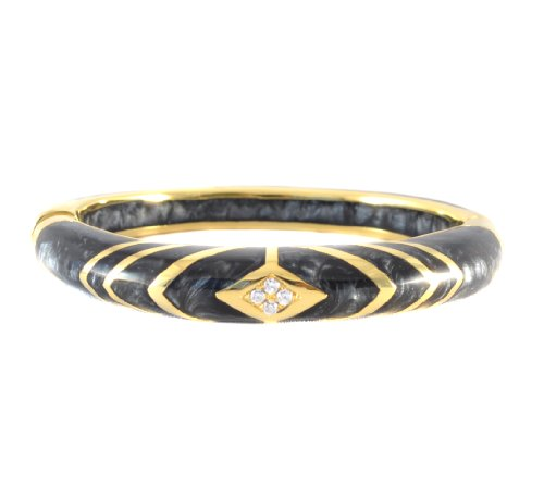 Andrew Hamilton Crawford 18k Gold Plated Deco Bangle Bracelet in Black Colored Resin (Hamilton 18k Bracelet)