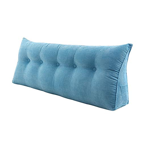 Corduroy Double headboard Tatami Cushion, Large Triangular Wedge Soft Reading backrest Back Support Pillow Removable Washable-Sky Blue 100x20x50cm(39x8x20inch)