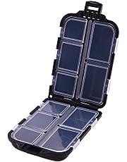 Aubess - Caja rectangular de plástico para anzuelos de pesca, caja de almacenamiento con 10