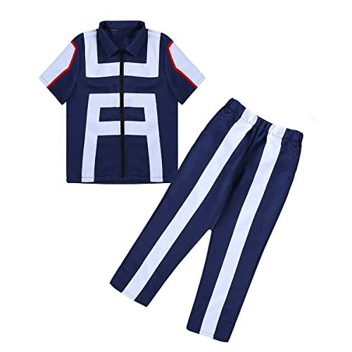 Unisex Cosplay Boku No Hero Academia My Hero Academia Izuku Midoriya Costume Training Suit Uniform (Large) Navy-Blue]()