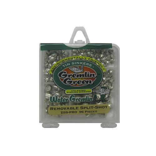 Water Gremlin Gremlin Green/Tin Removable Split Shot Pro Pack, 36ea/BB, 28ea/3/0, 12ea/7, 10ea/5, 10ea/4