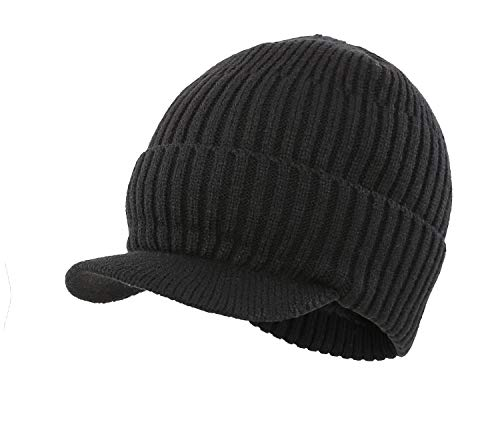 Home Prefer Men's Outdoor Newsboy Hat Winter Warm Thick Knit Beanie Cap with Visor (B-Black)