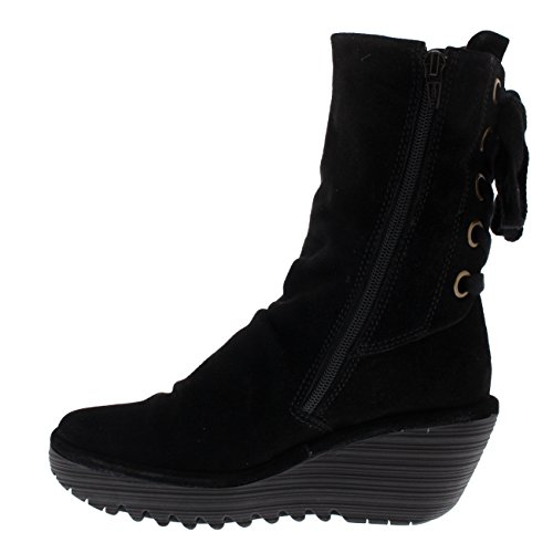 Womens Fly London Yada Wedge Heel Oil Suede Black Winter Mid Calf Boots - Black - 5 by FLY London (Image #3)