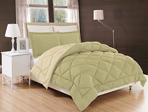 Elegant Comfort All Season Comforter and Year Round Medium Weight Super Soft Down Alternative Reversible 2-Piece Comforter Set, Twin/Twin XL, Sage/Cream ()