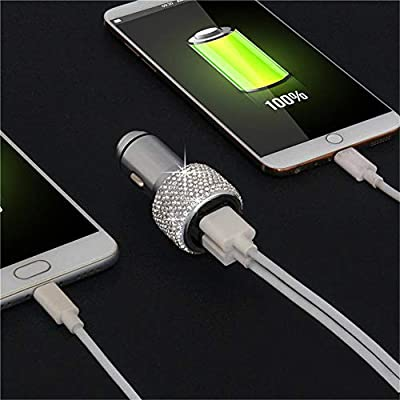 Dual USB Car Charger, QC3.0 Fast Car Charger Bling Bling Crystal Car Decorations for Fast Charging Car Decors for iPhone Samsung Galaxy s8/S7/S7 Edge/S6/Edge+ Nexus 6P/5X,LG Nexus, HTC Android- Sliver