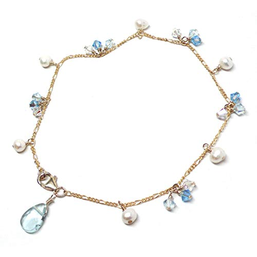 Lab Grown Aqua Quartz 12x8mm Cultured Pearl Austrian Crystal Gold-Filled Chain Anklet 10 Inches