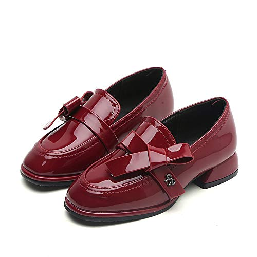 Kid Girl Mary Jane Wedding Party Shoes Bridesmaids Princess Dress Shoes(Red 32/1 M US Boys Girls) -