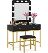 Tribesigns Vanity Table Set with Lighted Mirror, Makeup Vanity Desk with 9 Lights, Cushioned Stoo...