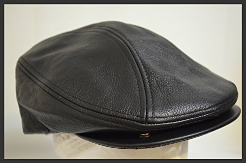 Classic Army Reinforced (Men'S Classic Genuine Leather Driving Cabbie Hat Ivy Cap Snap Brim)
