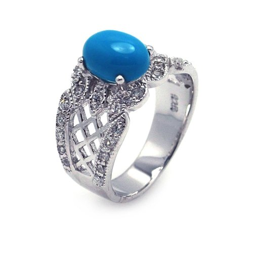 Exquisite Sterling Silver Rhodium Plated Turquoise CenterClear Pave Set CZ Filigree ()