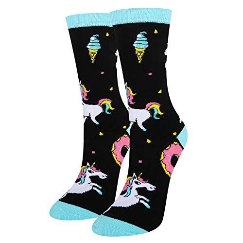 Novelty Unicorn Socks, Funny Cute Rainbow Star Socks Cartoon Colorful Donut Casual Crew Socks For Women