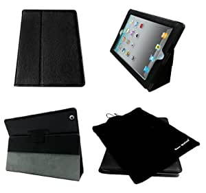 Bear Motion (TM) 100% Genuine Leather Case for iPad2 / iPad 3 (the new iPad) / iPad 4 with built-in Stand - Support auto sleep/awake function (Black)
