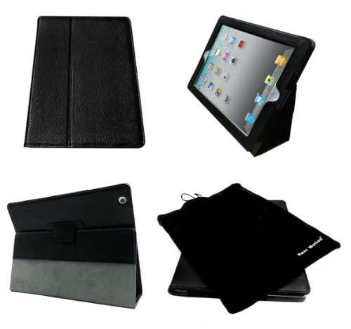 Bear Motion for iPad 2/3 / 4 - Genuine Cowhide Leather Case for iPad 2 / iPad 3 / iPad 4 with Built in Stand Support Sleep Function - Black