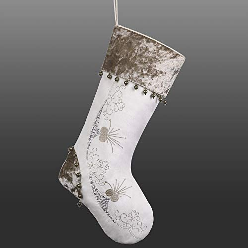 Valery Madelyn 21 Inch Elegant Champagne Gold Velvet Christmas Stocking with Floral and Snowflake, Encircled by Beading Fringes Sponge Insert,Themed with Tree Skirt(Not Included)