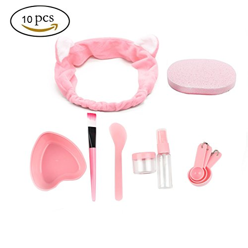 URfashion Facial Mask Bowl 10 in 1 Cat Shape Headband Spray Brush Stick Spatula Puff Measure Spoon Lady face Skin Care Mask Mixing Tool (Cat Bowl Brush)