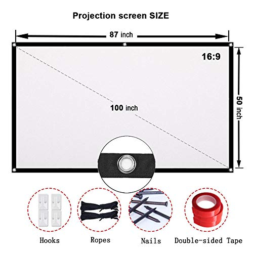 Projector Screen CFTech 100 inch Portable Projection Screen 16:9 Foldable Movies Screens Anti-crease for Home Theater Outdoor Indoor Party, Support Rear Projection (100inch) by CFTech (Image #4)
