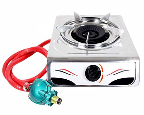 Hunslow Portable Auto Ignition 15,000 BTU Single Burner Propane Gas Stove Stainless Steel Body - Perfect Single Gas Burner for Your Kitchen & Outdoor (Portable Single Range)