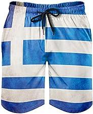 Men's Beach Shorts Vintage Greece Flag Greek Print Tribal Beach Pants with Poc