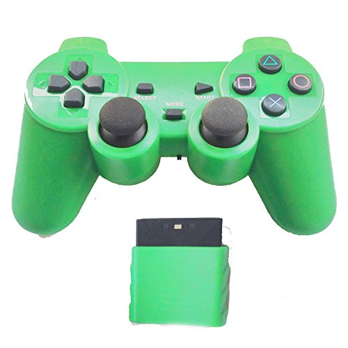 Bowink Wireless Gaming Controller for Ps2 Double Shock - Solid Green