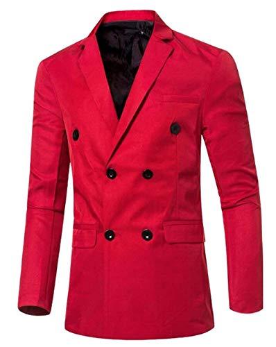 Pour Kangqi Double Blazers À D'affaires Boutonnage Hommes Vêtements Red De 556wqSB