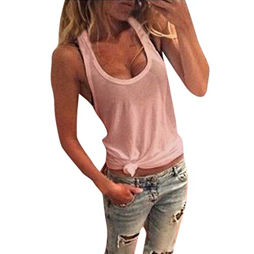 (⚡HebeTop⚡ Women Summer Fasion O Neck Solid Sleeveless Lace Shirt Casual Tank Tops Blouse Mini Vest Pink)