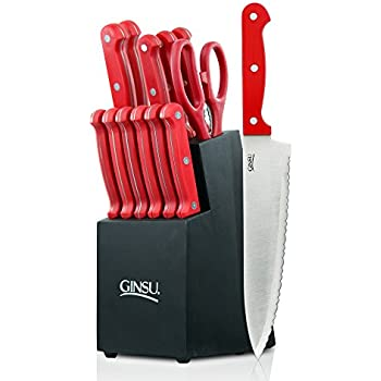 Amazon.com: Masterchef 13-Piece Knife Set with Block, Red ...