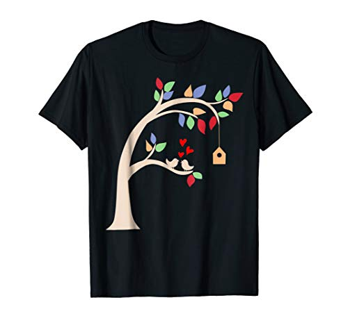 Doodle Tree With Birds And Nesting Box Cool T-shirt Gift
