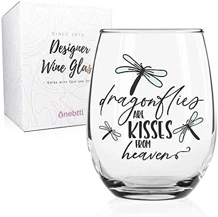 Regalos de libélula para mujeres, copas de vino sin tallo, regalos para amantes del vino, memorias de amor y libélula de dolor, libélulas son besos desde el cielo, 18 oz/530 ml, Onebttl
