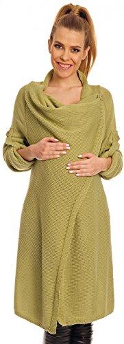 Happy Mama Womens Maternity Waterfall Cardigan Blazer Knit Coat Long Wrap 277p (Pistachio, 8/12)