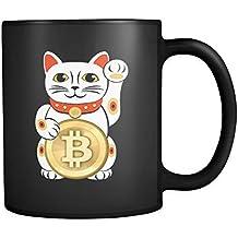 Funny Bitcoin Lucky Cat Coffee Mug Black
