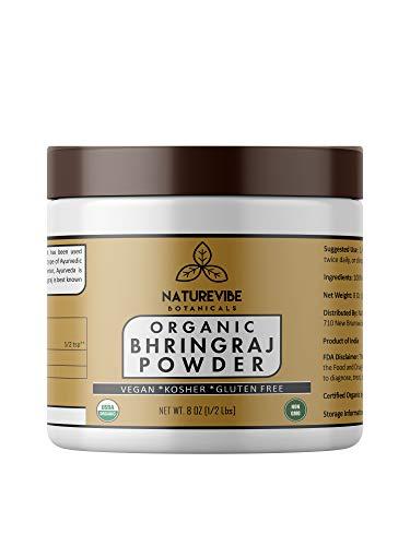 Naturevibe Botanicals USDA Organic Bhringraj powder (8 ounces) - Eclipta Alba - 100% Pure & Natural...[Packaging may vary]