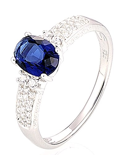 Chariot Trading - Silver Rings Wedding Ring Oval Blue (SIZE : 6) (Belly Dance Costumes Clearance)