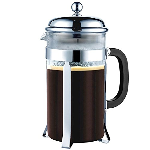 co2CREA French Brazil Press Coffee and Tea Maker 34oz, 8 Cup, 1L lite Chrome