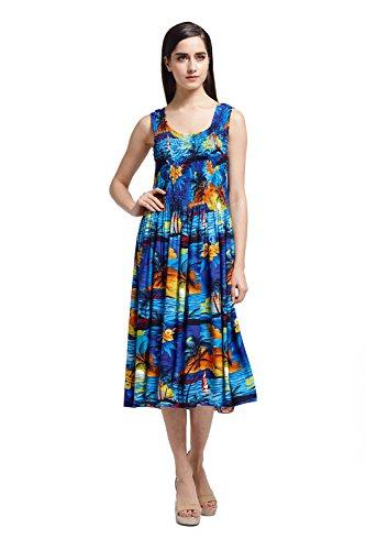 Womens Hawaiian Tank Elastic Luau Dress Sunset Blue