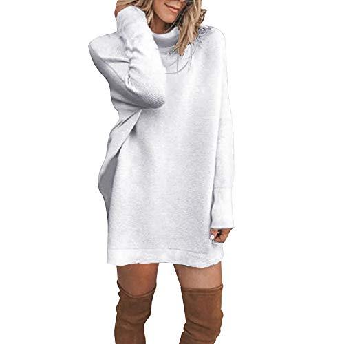 HYIRI ✈Winter Turtleneck Casual Dress,Womens Long Sleeve Loose Bottom Knit Sweater Mini Dress