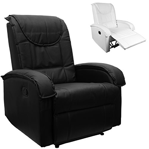 STILISTA® TV Relaxsessel aus echtem Leder, mit ausklappbarer Fußstütze, bequeme Polsterung, Farbe schwarz
