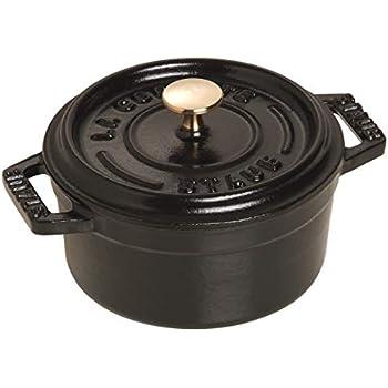 Staub 1101025 Cast Iron Mini Round Cocotte, 0.25-quart, Black Matte