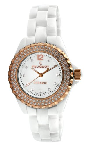 Peugeot Women's PS4892WR Swiss Ceramic Swarovski Crystal White Dial ()