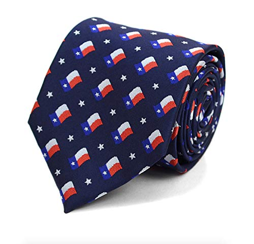 (Parquet Men's Novelty Fashion Neckties with Gift Box - Political Themes (Texas Flag - Navy))