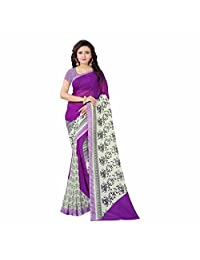 Indian Handicrfats Export Synthetics Floral Print Fashion Georgette Saree (Purple)