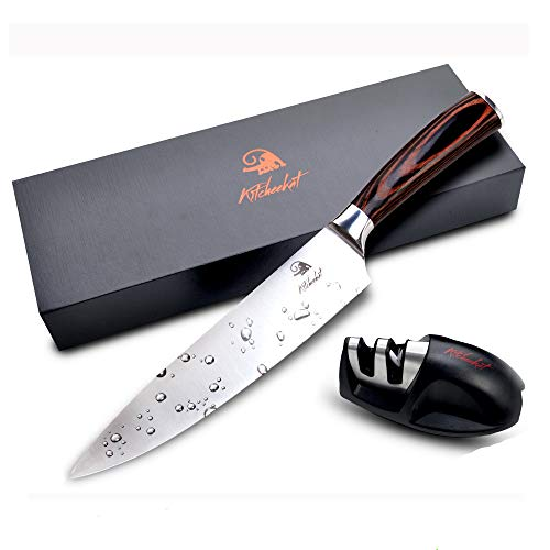Chef Knife 8 Inch Sharpest Kitchen Knife Includes Chefs Knife Sharpener (Sharpener Included)