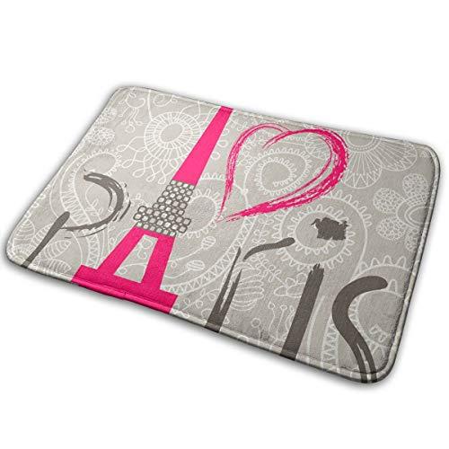 """Paris Love Doormat 1 cm Thick Entrance Mat Floor Mat Area Rug Flannel Touch and Slip-Resistant Backing for Indoor/Front Door/Bathroom/Kitchen/Living Room and Bedroom Non-Slip Mats 19.5"""" X 31.5"""""""