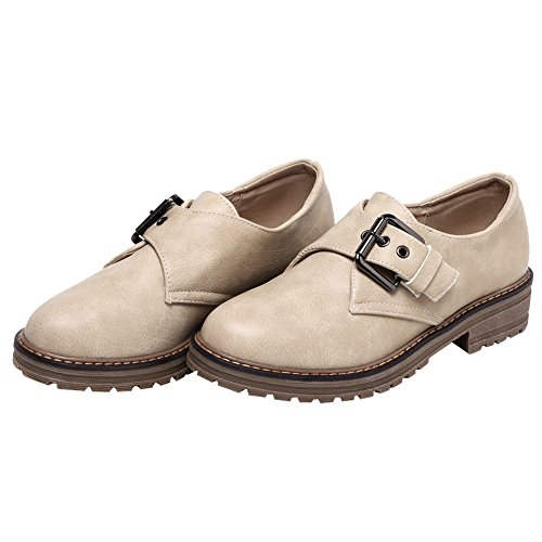 Strap Slip Shoes Monk Loafers on Womens Comfort Beige Latasa qx4zXW