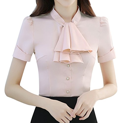 b4b1af0734cf93 E.JAN1ST Women s Long Sleeve Shirt Tie Bow Neck Button End Slim Fit Chiffon  Blouse