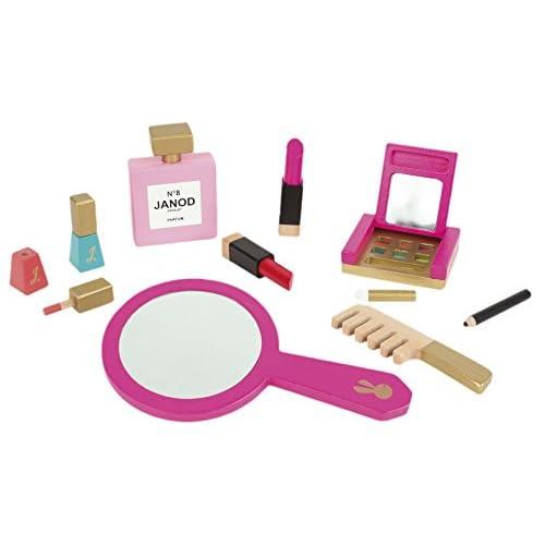 Janod–Jouet en Bois–Set de 9Piel Trousse de toilette maquillage–Peigne Miroir de maquillage rose
