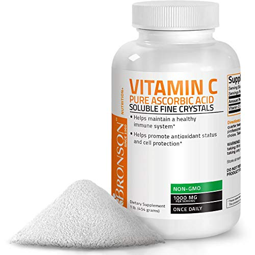 Vitamin C Powder Pure Ascorbic Acid Soluble Fine Non GMO Crystals - Promotes Healthy Immune System and Cell Protection - Powerful Antioxidant - 1 Pound (16 Ounces) ()